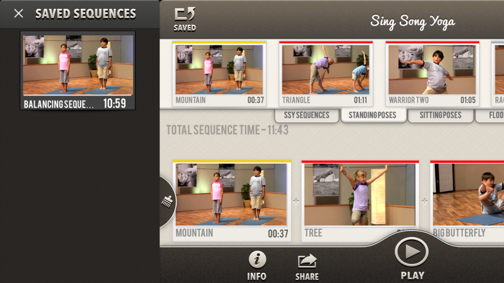 saved balancing sequence within the Sing Song Yoga kids yoga app
