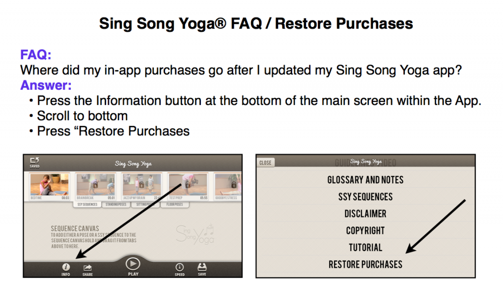 kids yoga app Sing Song Yoga series - restore purchases